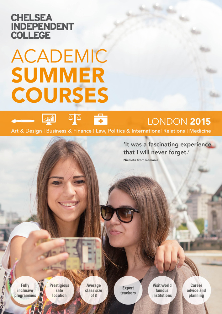 Part of an educational branding project, the Chelsea Independent College Summer School brochure cover