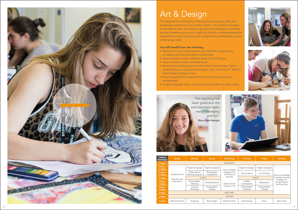 Sample spread from the Chelsea Independent College Summer School brochure