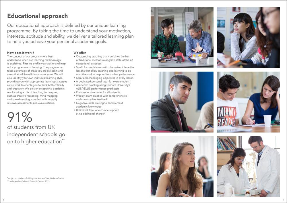 A sample spread from an Astrum Education brochure.