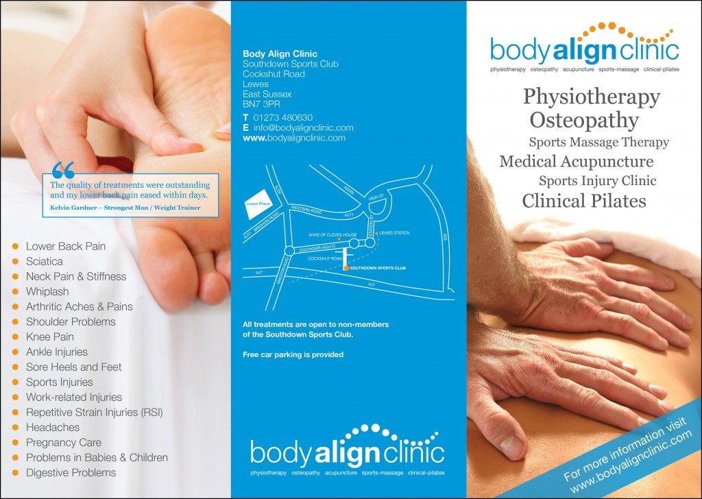Logo design and branding materials for Body Align Clinic.