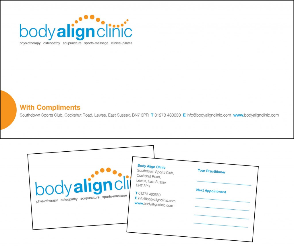 Logo design and branding materials for Body Align Clinic, here is it used on a comp slip and appointment cards.