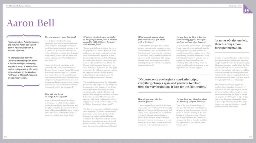 Samples of Book design and layout from a book called Fontface