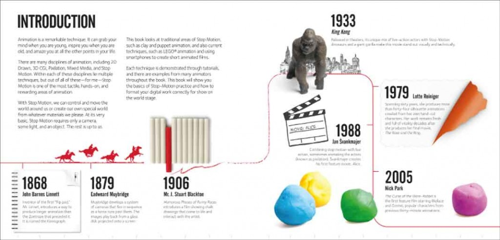 Samples of Book design and layout from a book called Stop Motion