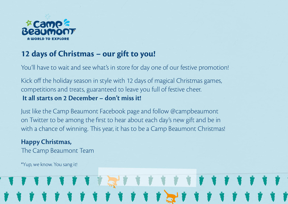 A Christmas campaign targeting Camp Beaumont's sales agents.