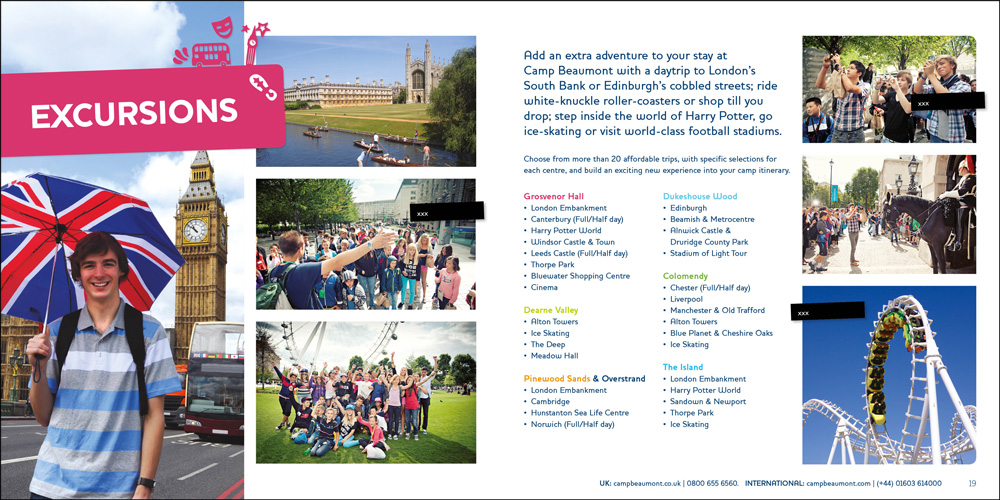 Brochure design for Camp Beaumont