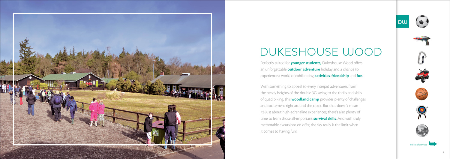 Educational brochure design for Kingswwod, a provider of educational activity breaks for children