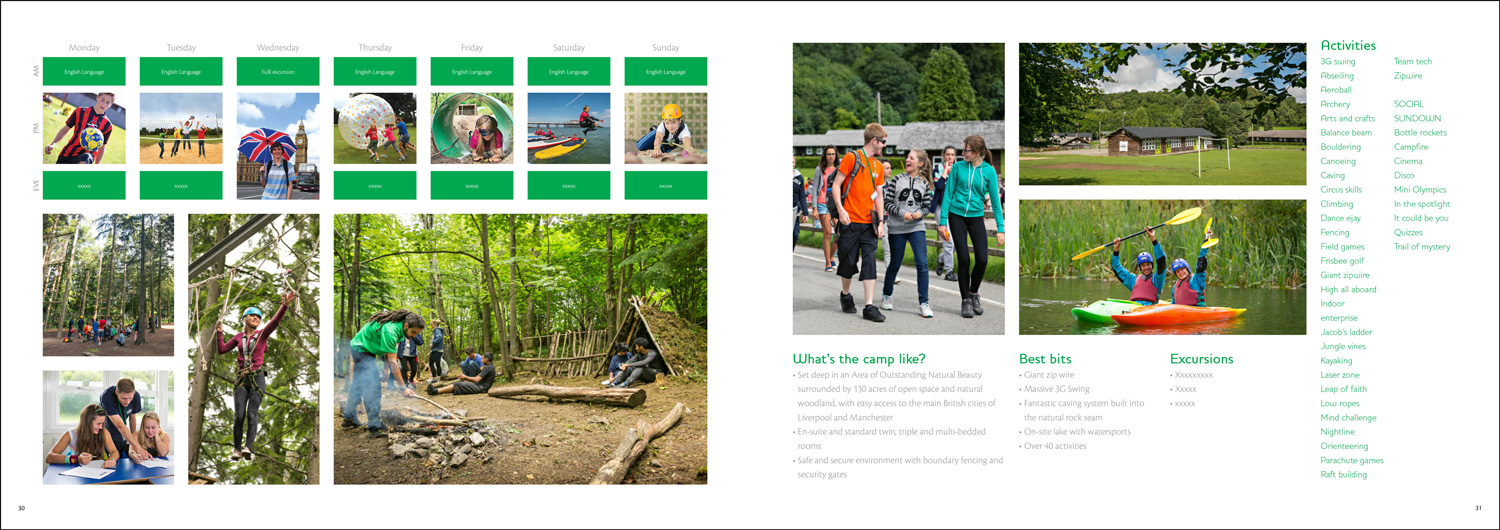 Brochure design for Kingswwod, a provider of educational activity breaks for children