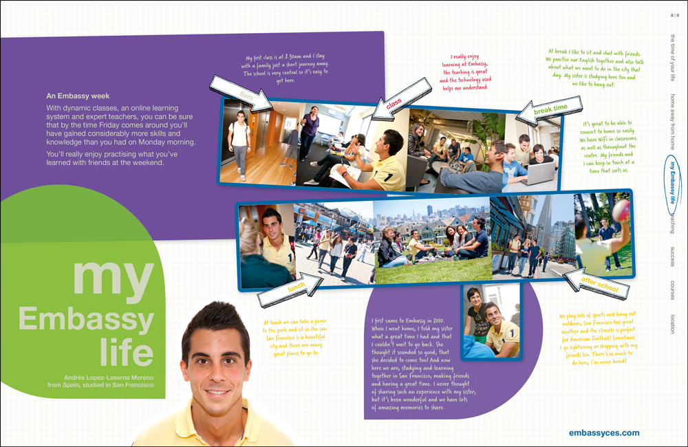 images from the shoots in use, shown here in the Embassy English printed brochure.