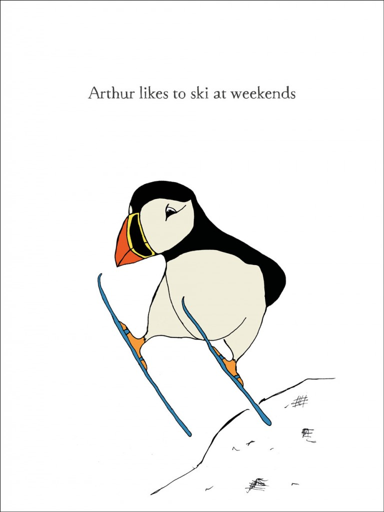 hand-drawn illustration of Arthur, a puffin who likes to ski at weekends