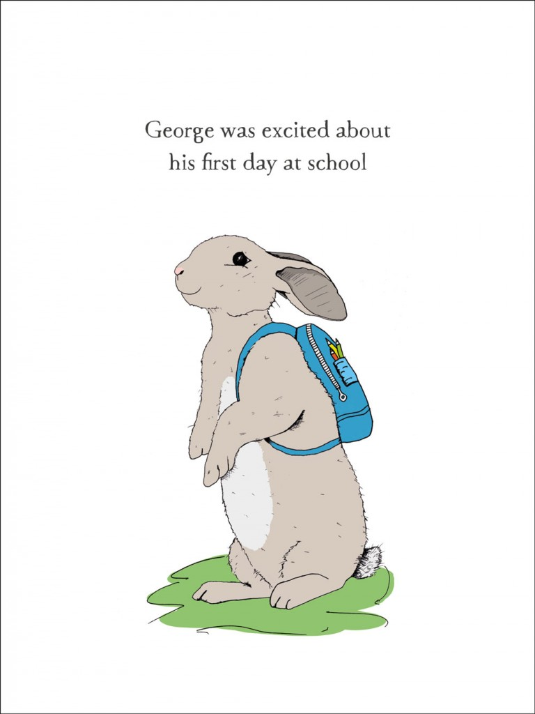 hand-drawn illustration of George, a rabbit who was excited about his first day at school