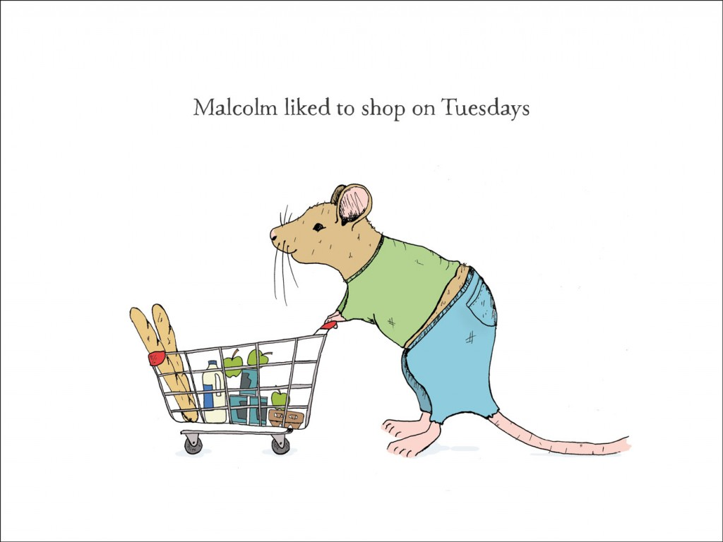 hand-drawn illustration of Malcolm, a mouse who likes to shop on Tuesdays