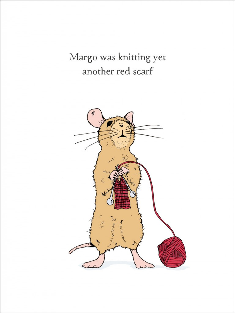 hand-drawn illustration of Margo, a mouse who is knitting yet another red scarf