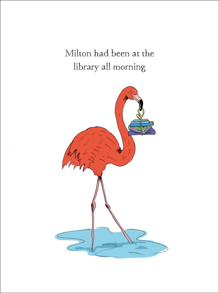 hand-drawn illustration of Milton, a flamingo who has been at the library all morning