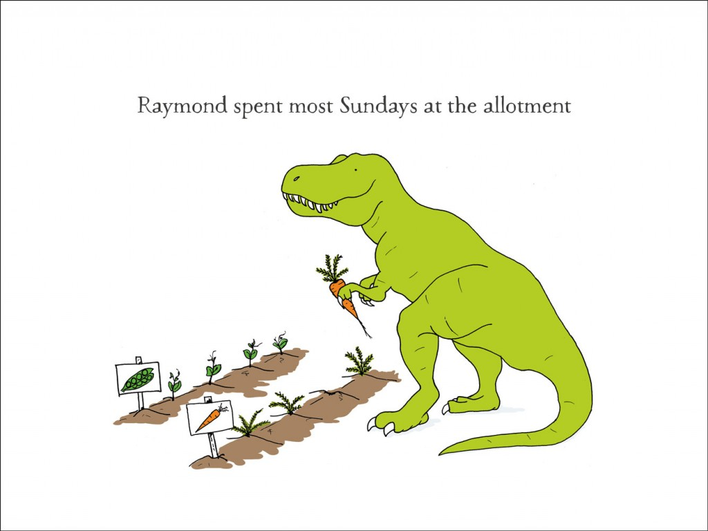 hand-drawn illustration of Raymond, a dinosaur who spends most Sundays at the allotment