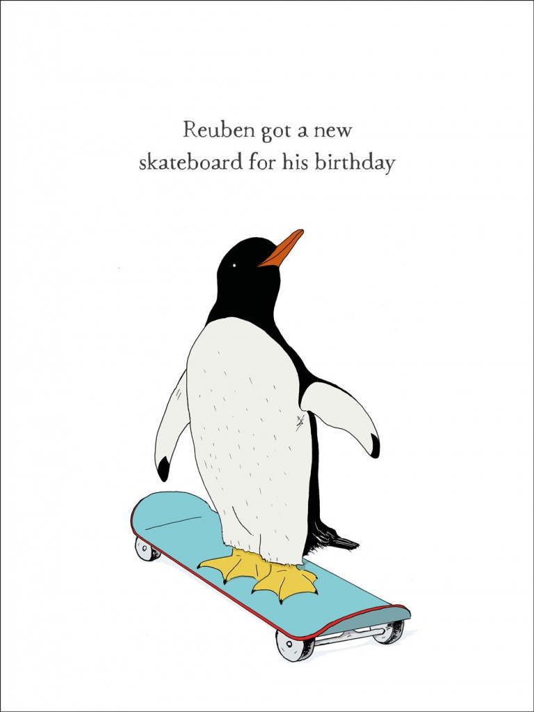 hand-drawn illustration of Reuben, a penguin who got a new skateboard for his birthday