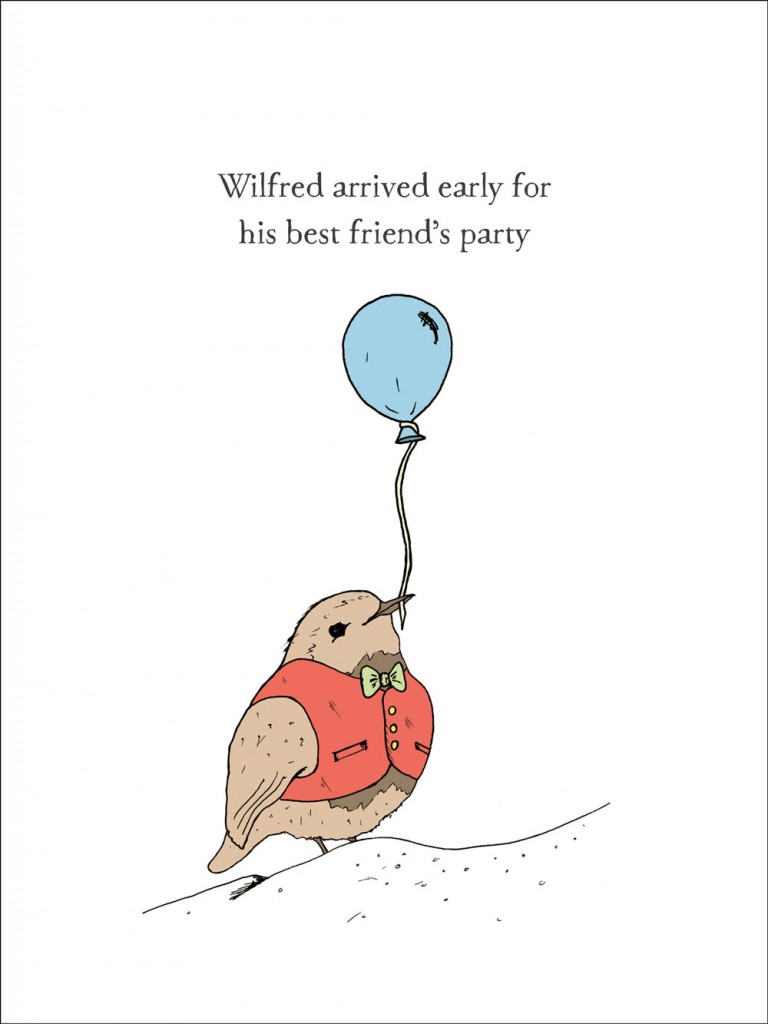 Illustration of Wilfred, a bird who has arrived early for his best friend's party