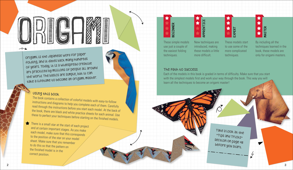 A sample of Instructional book design from a children's step-by-step origami book for Quarto Publishing