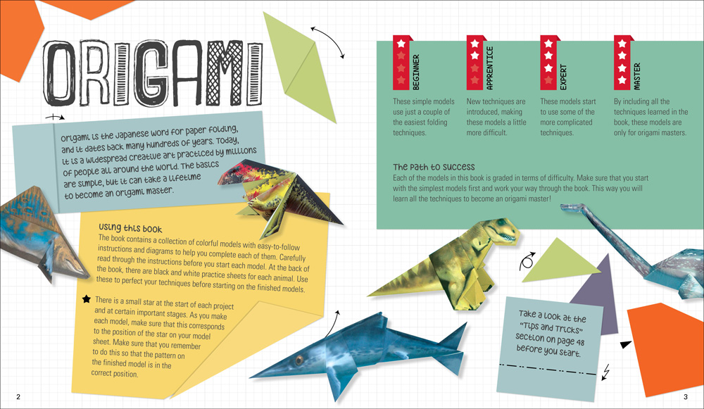 A children's step-by-step origami book, a sample of children's book design.