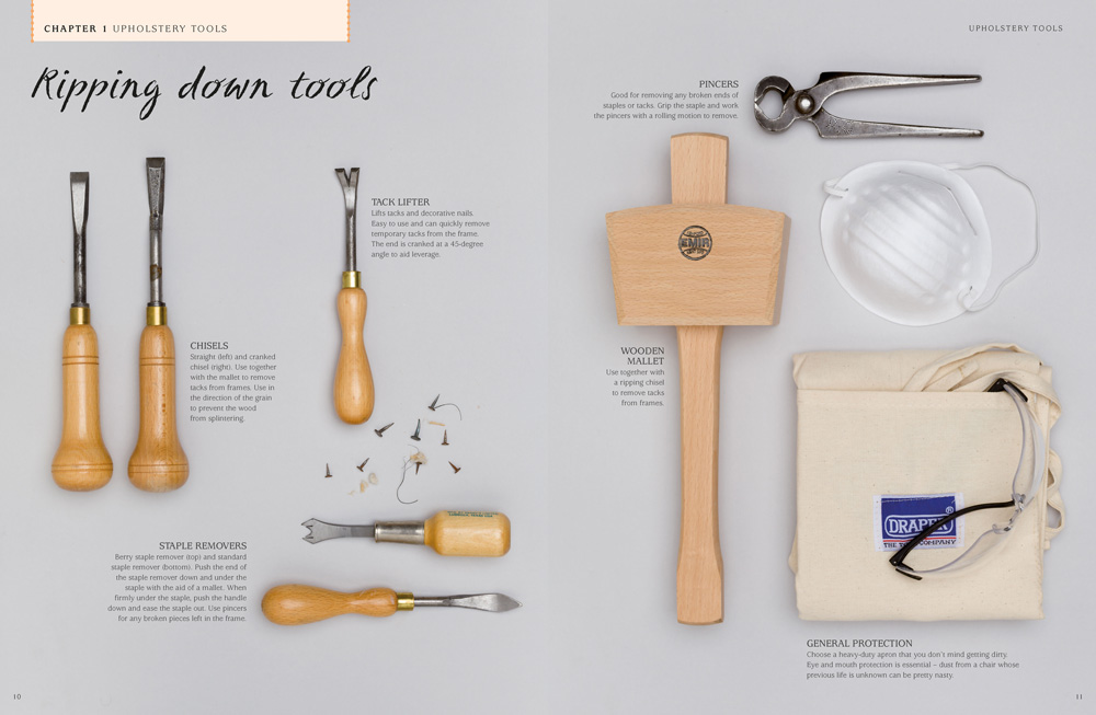 Book design & art direction for the tool pages in Style Stitch Staple, an upholstery book by RotoVision.