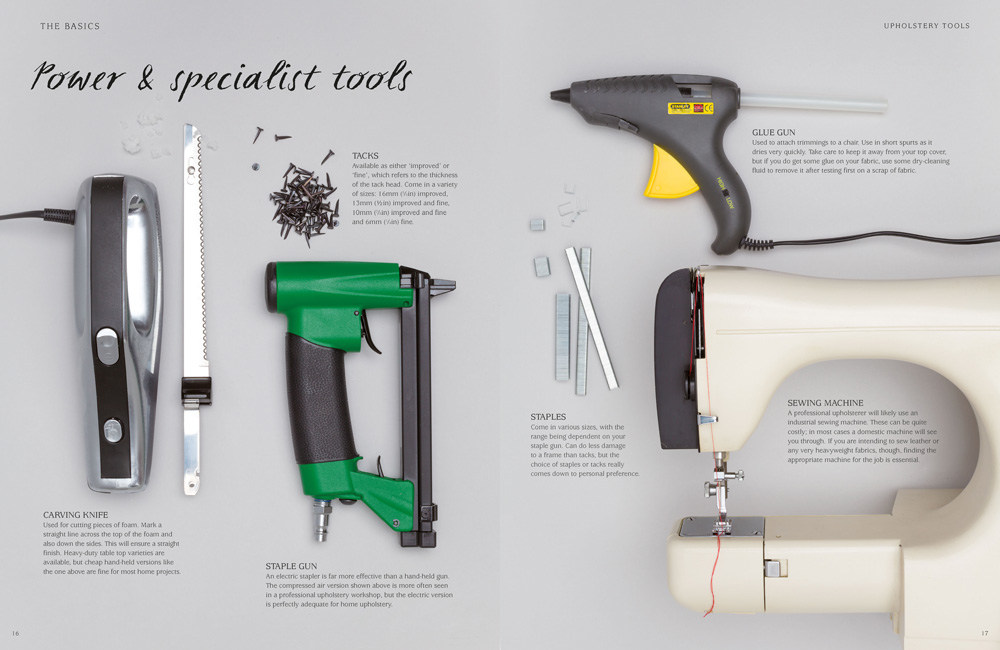 Layout and art direction for the tool pages in Style Stitch Staple, an upholstery book by RotoVision.
