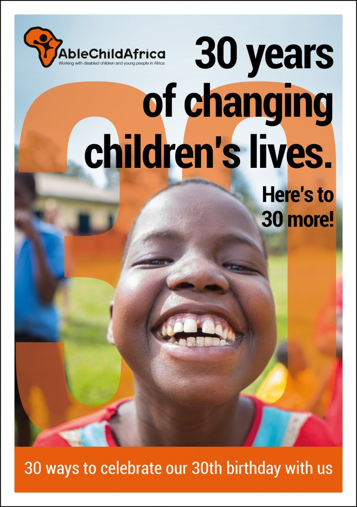 Graphic design for AbleChildAfrica, 30 years old flyer cover