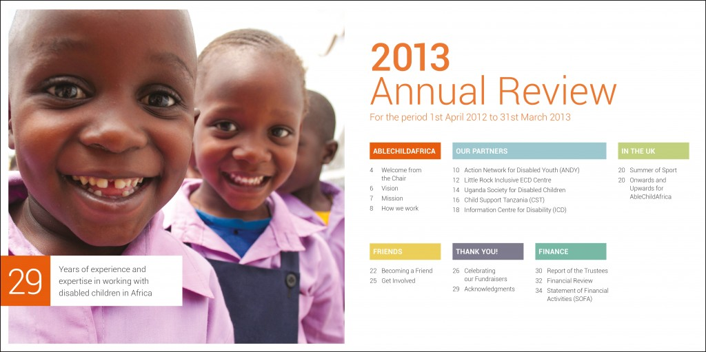 Graphic design for AbleChildAfrica, Annual Review 2013 contents page