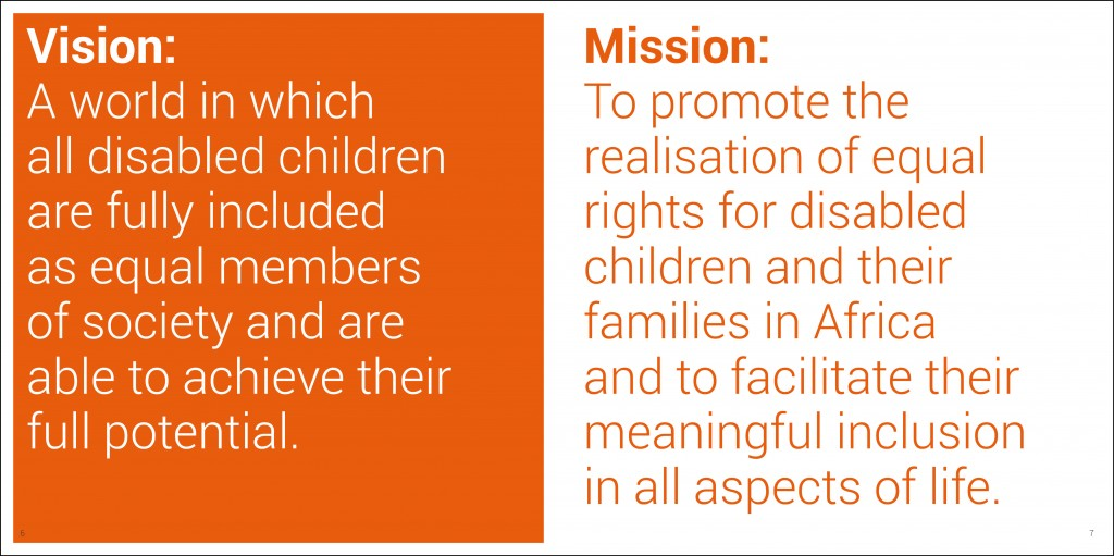 Graphic design for AbleChildAfrica, Annual Review 2013 vision and mission statements