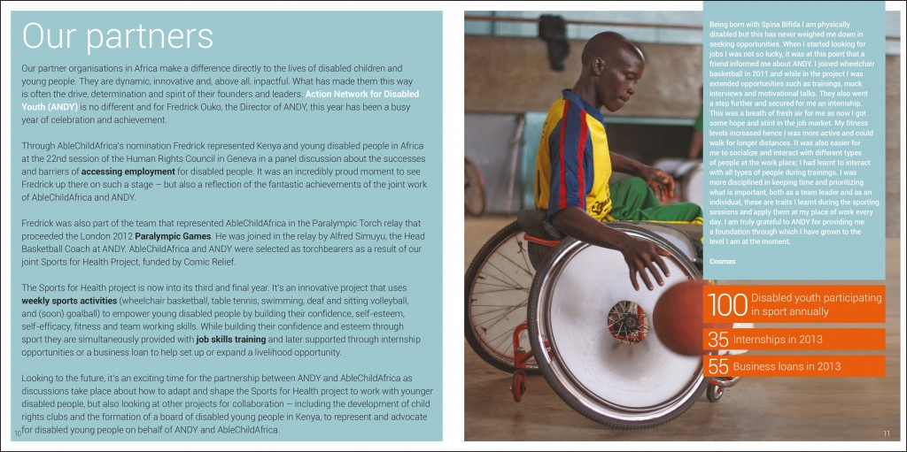 Brochure design for AbleChildAfrica, Annual Review 2013 partners page