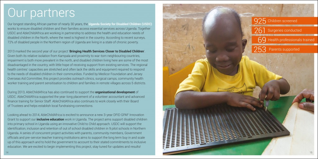 Graphic design for AbleChildAfrica, Annual Review 2013 partners page