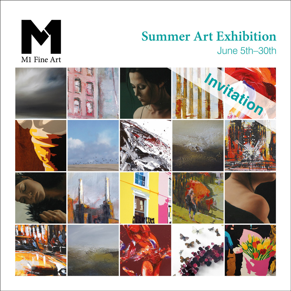 Branding materials for M1 Fine Art, a London gallery. An invitation for the summer exhibition.