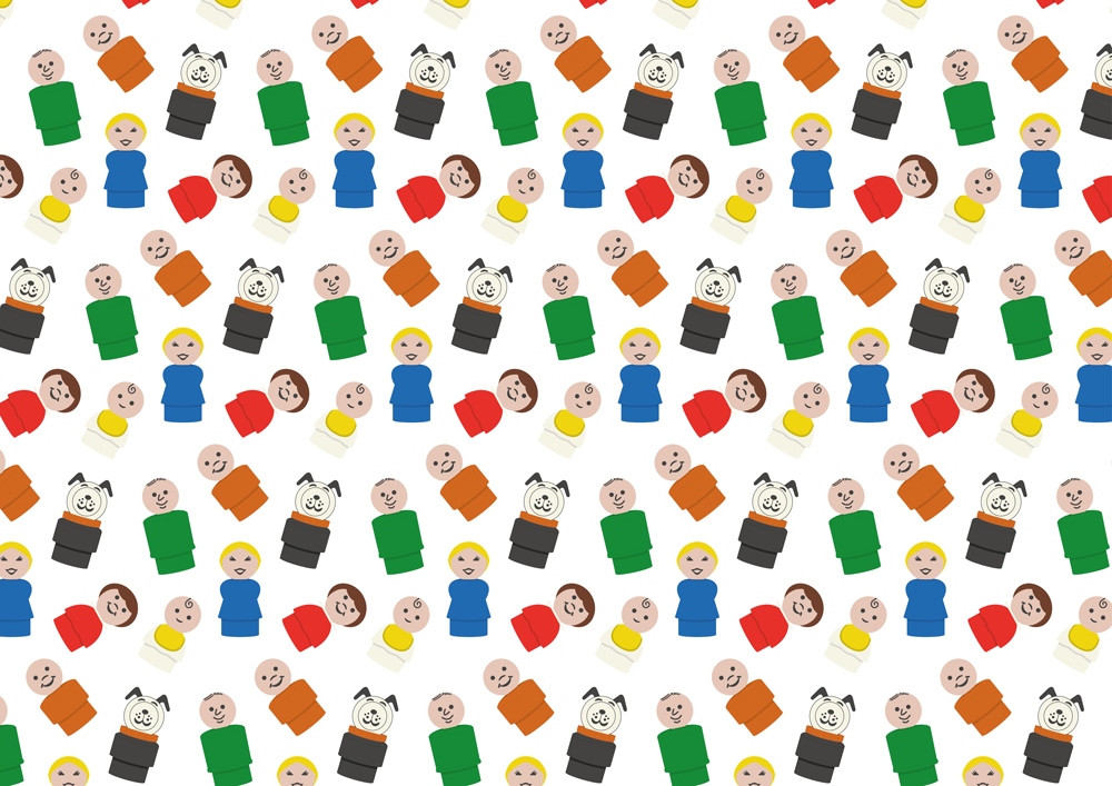 Pattern using Fisher Price characters. Created in Adobe Illustator