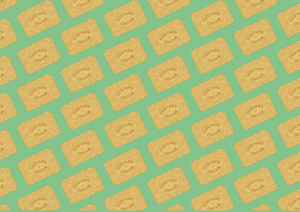 A biscuit pattern created in Adobe Illustrator.