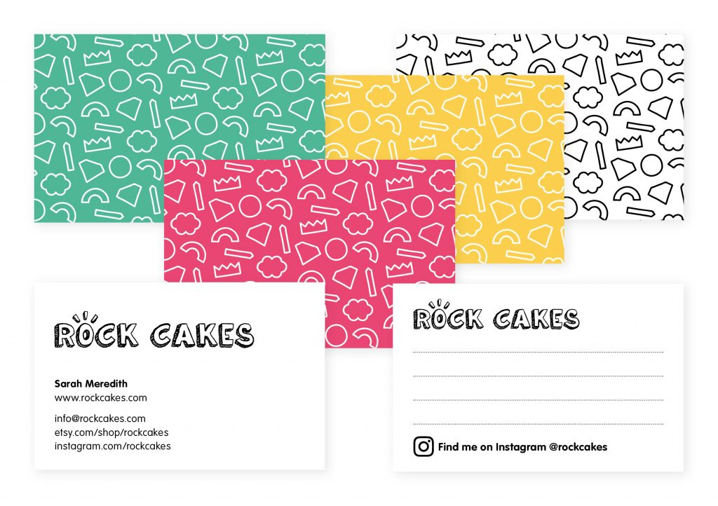 Rock Cakes rebrand business and note cards