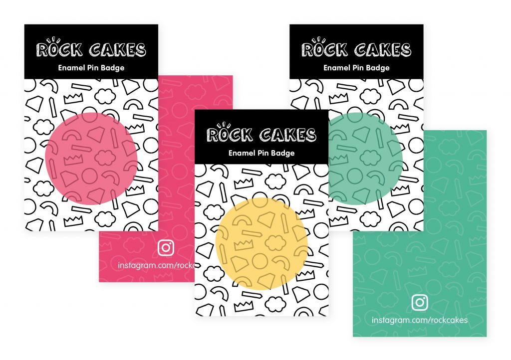 Rock Cakes rebrand pin badge cards
