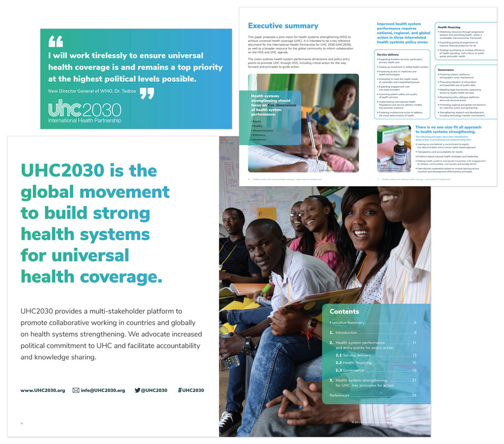 Brighton Graphic designer, layout example for The World Health Organization